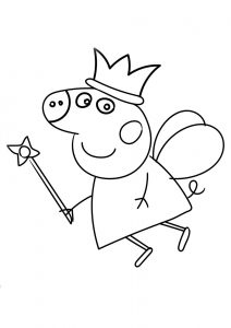 Peppa Pig Birthday Fairy Coloring Page