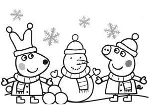 Peppa Pig Christmas Coloring Pages Peppa Pig and Friends Winter Season Snowman