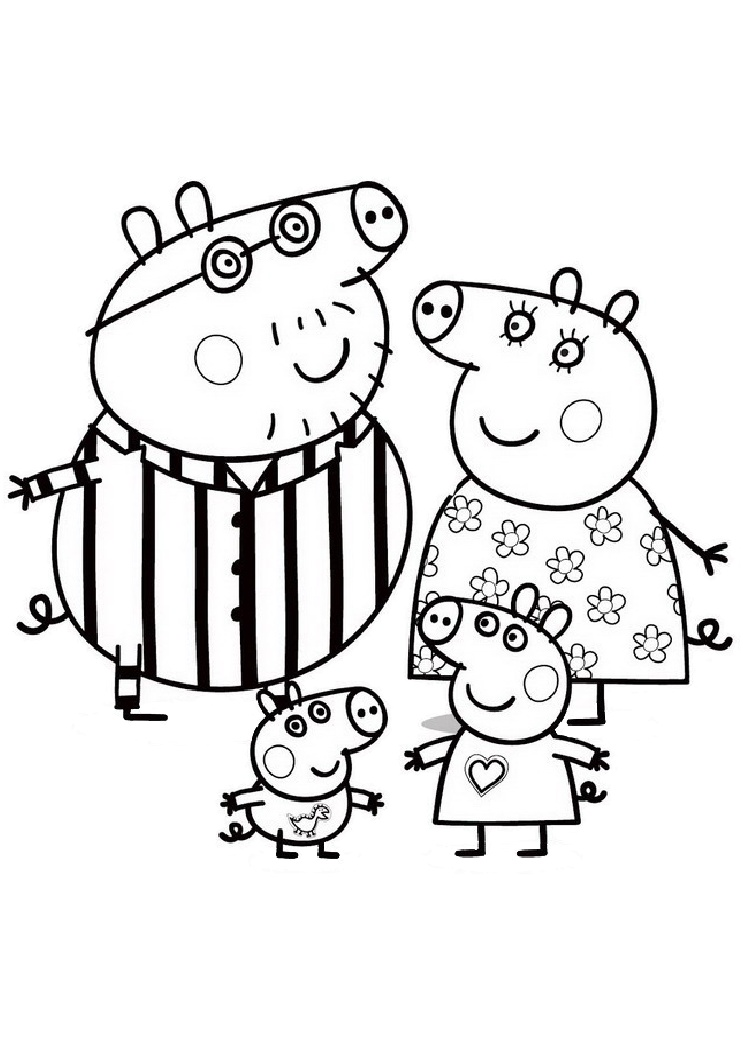Peppa Pig Coloring Page Peppa Pig Brother and Family
