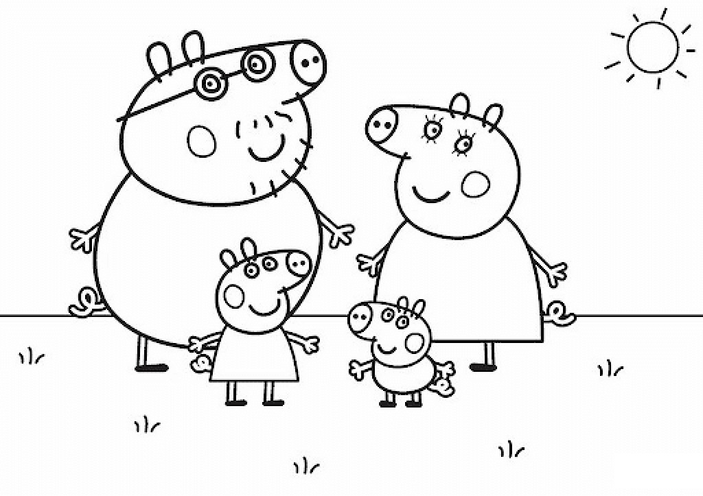 Peppa Pig Coloring Pages Daddy Mommy Pigs with Peppa Pig and Brother George