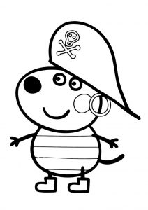 Peppa Pig Danny Dog Coloring Pages Danny Dog Dressed as Pirate for Halloween