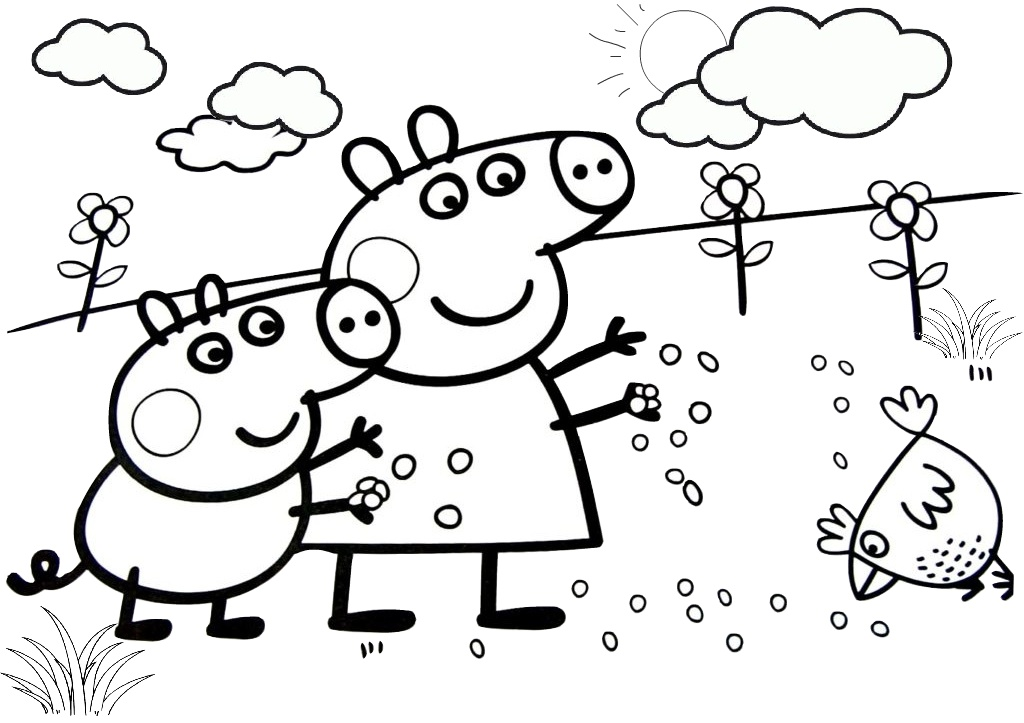 Peppa Pig Feeding Chickens Easter Coloring Pages