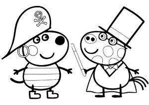 Peppa Pig Friends Danny Dog Pirate and Pedro Pony Magician Coloring Pages