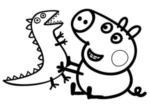Peppa Pig George Coloring Pages Little Brother of Peppa Pig Who Loves Dinosaur