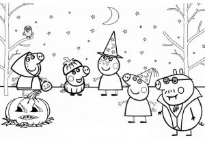 Peppa Pig Halloween Coloring Pages Vampire Witch Carved Pumpkin in Forest with Trick or Treat Halloween Costume