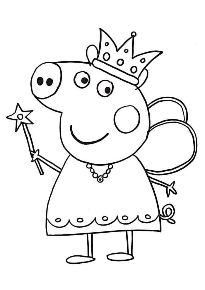 Peppa Pig Princess Coloring Pages Peppa Dressed as a Magical Princess With Magic Wand and Crown