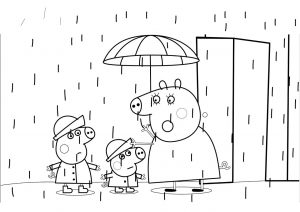 Peppa Pig Rain Coloring Pages Peppa George and Mommy Pig Rainy Season Umbrella and Raincoat