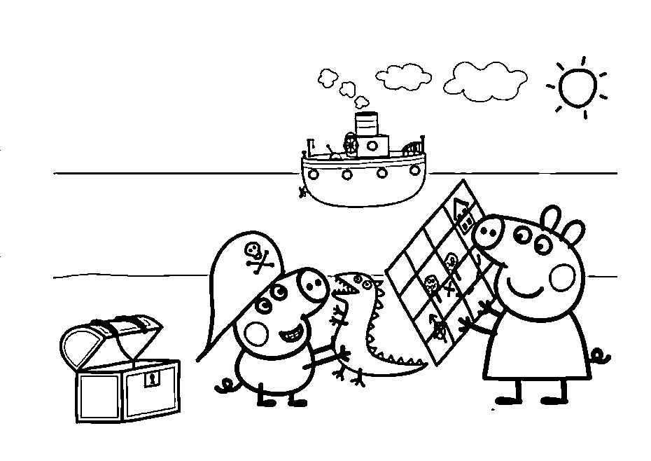 Peppa Pig Summer Coloring Pages Peppa Brother George at ...