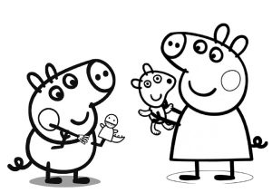 Peppa Pig and George Playing with Toys Peppa Pig Coloring Pages