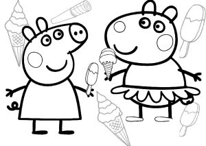 Peppa Pig and Suzy Sheep Ice Cream Coloring Pages