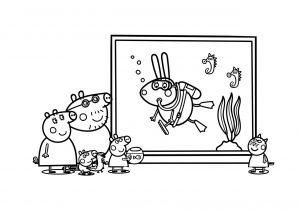 Peppa Pig in Aquarium Peppa Pig Family Coloring Pages