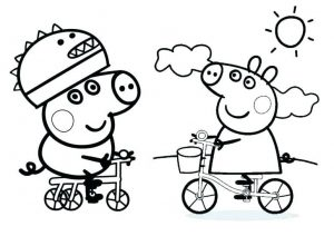 Peppa and Friends Full Size A4 Coloring Pages Peppa Riding Bicycle After a Rainy Day