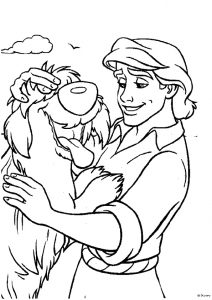 Prince Eric with his pet dog Coloring Pages