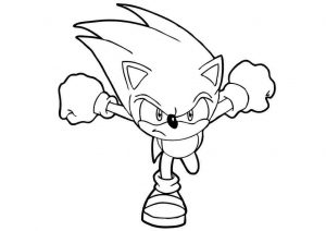 Printable Angry Hyper Fast Sonic the Hedgehog Coloring Pages