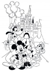 Printable Disney World Castle and Mickey Mouse Coloring Pages