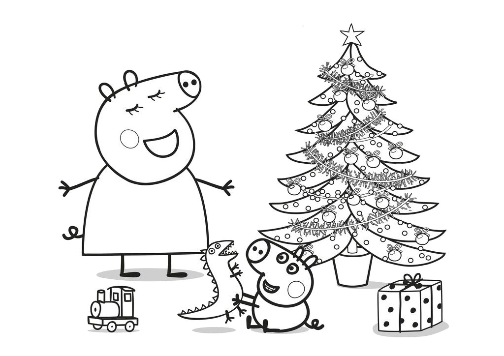 Printable Peppa Pig Christmas Coloring Pages Mommy Pig and George with Decorated Christmas Tree and Presents