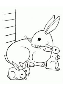 Printable Rabbit and Rabbit Kits Coloring Pages