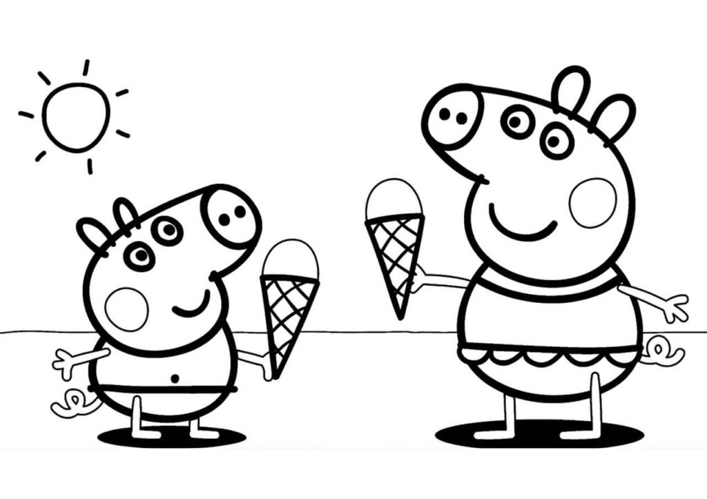 Printable Summer Peppa Pig Coloring Pages Peppa Pig and George Enjoying Ice Cream in Summer