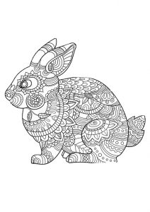 Printable Zentangle Rabbit Mandala Coloring Pages for Adults Hard to Color