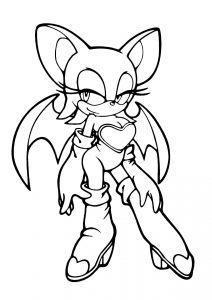 Rouge the Bat Mobian White Bat Screw Kick Flying Wings Sonic the Hedgehog Coloring Pages