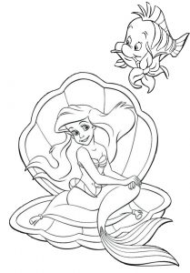 Walt Disney Ariel Mermaid and Flounder Fish Coloring Pages