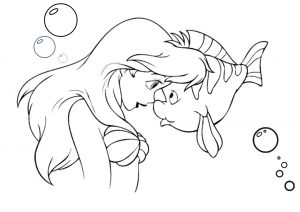Walt Disney Ariel the Mermaid and Fish Coloring Pages