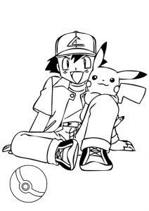 Ash Satoshi and Pikachu and Pokeball Pokemon Coloring Pages