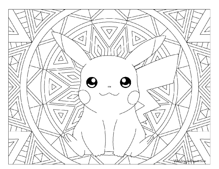 Baby Pokemon Pikachu Hard to Color Mandala Adult Pokemon Coloring Pages