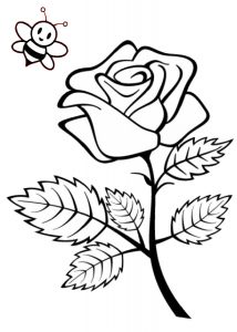 Beautiful Rose Flower Coloring Pages for Kids