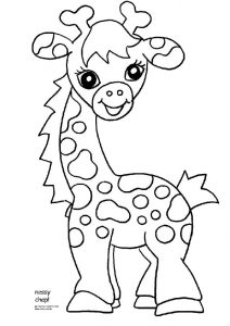 Cute Looking Baby Giraffe Coloring Pages
