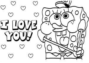 Cute Spongebob Valentine Coloring Pages