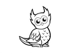 Easy Bird Owl Coloring Pages