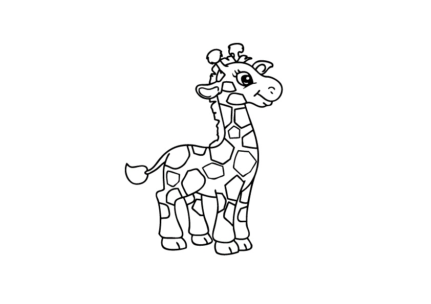 Easy to Color Baby Giraffe Coloring Pages for Preschool