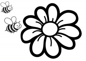 Easy to Draw and Color Flower Coloring Pages for Preschool Bees and Flowers