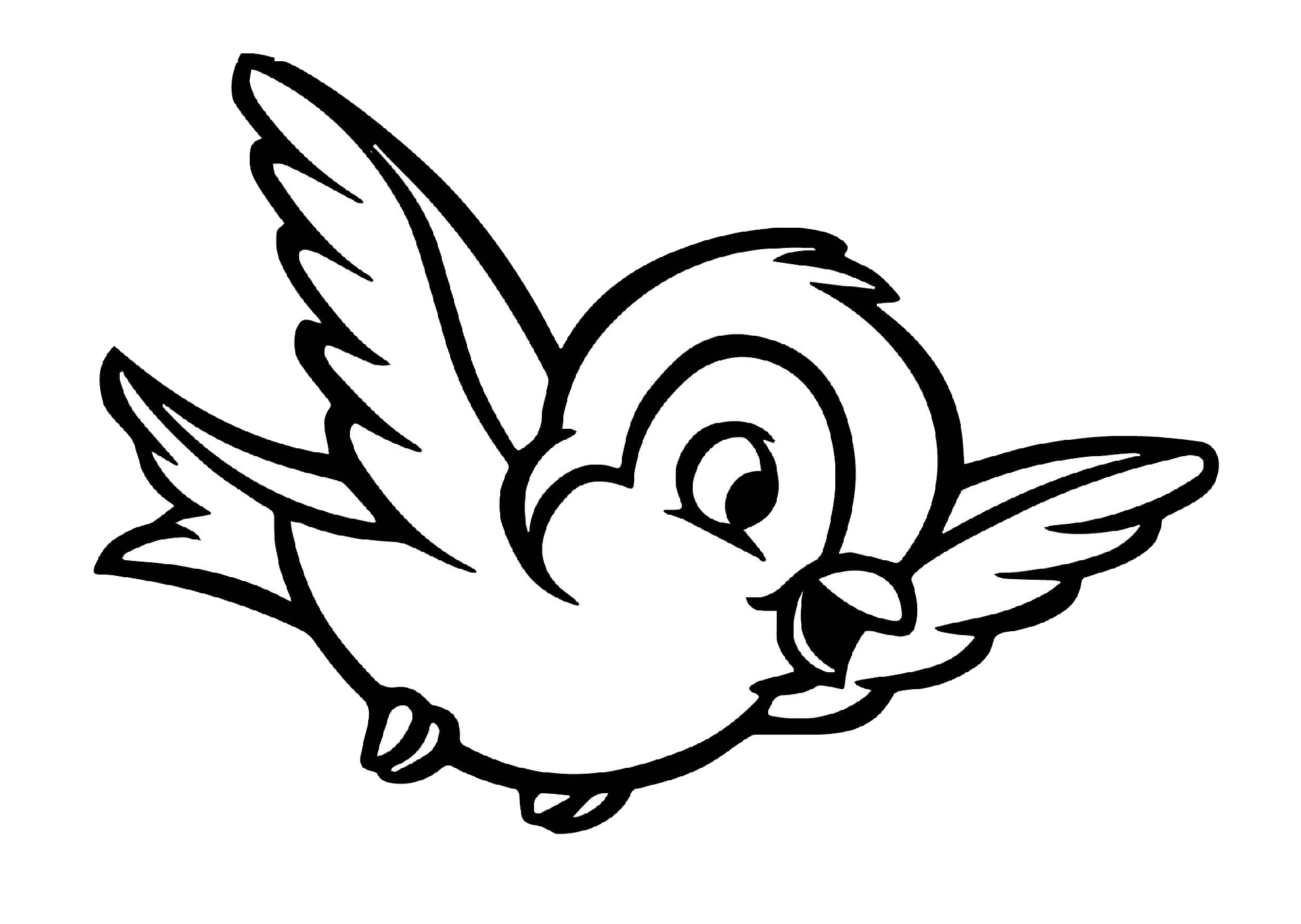 Happy Cute Bird Coloring Pages