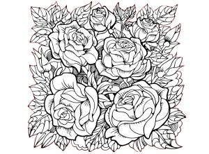 Hard to Color Detailed Rose Flowers Coloring Pages for Adults