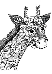 Mandala Adult Hard to Color Giraffe Coloring Pages