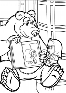 Masha And The Bear Coloring Pages Bear Showing a Book with Witch to Naughty Masha