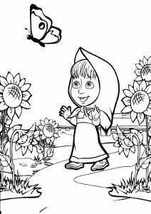 Masha And The Bear Coloring Pages Masha Following Butterfly