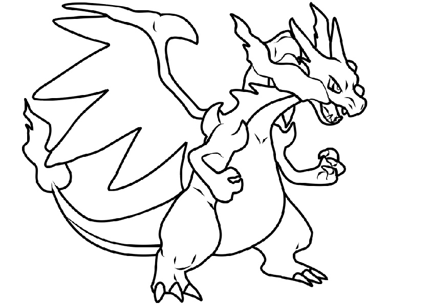 Pokemon Evolution Mega Charizard Coloring Pages