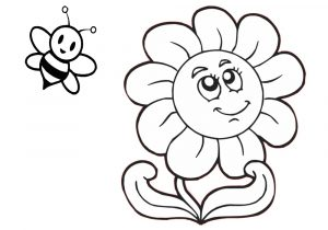 Printable Easy Sunflower Coloring Pages for Preschool Toddlers