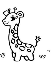 Printable Easy to Draw and Color Baby Giraffe Coloring Pages