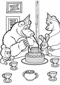 Printable Masha and the Bear Coloring Page Birthday Party with Cakes