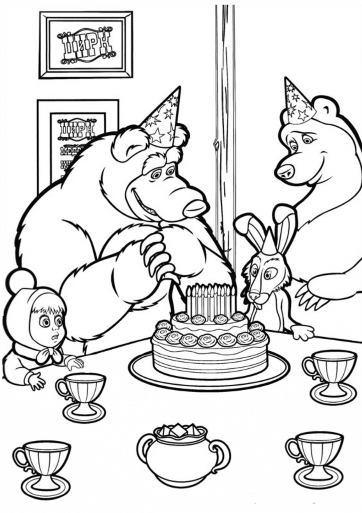 13 Masha And The Bear Coloring Pages {Printable All Characters}