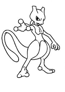 Psychic Power DNA Engineered Mewtwo Pokemon Coloring Pages