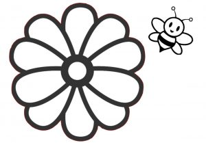 Simple and Cute Bees and Flower Coloring Pages