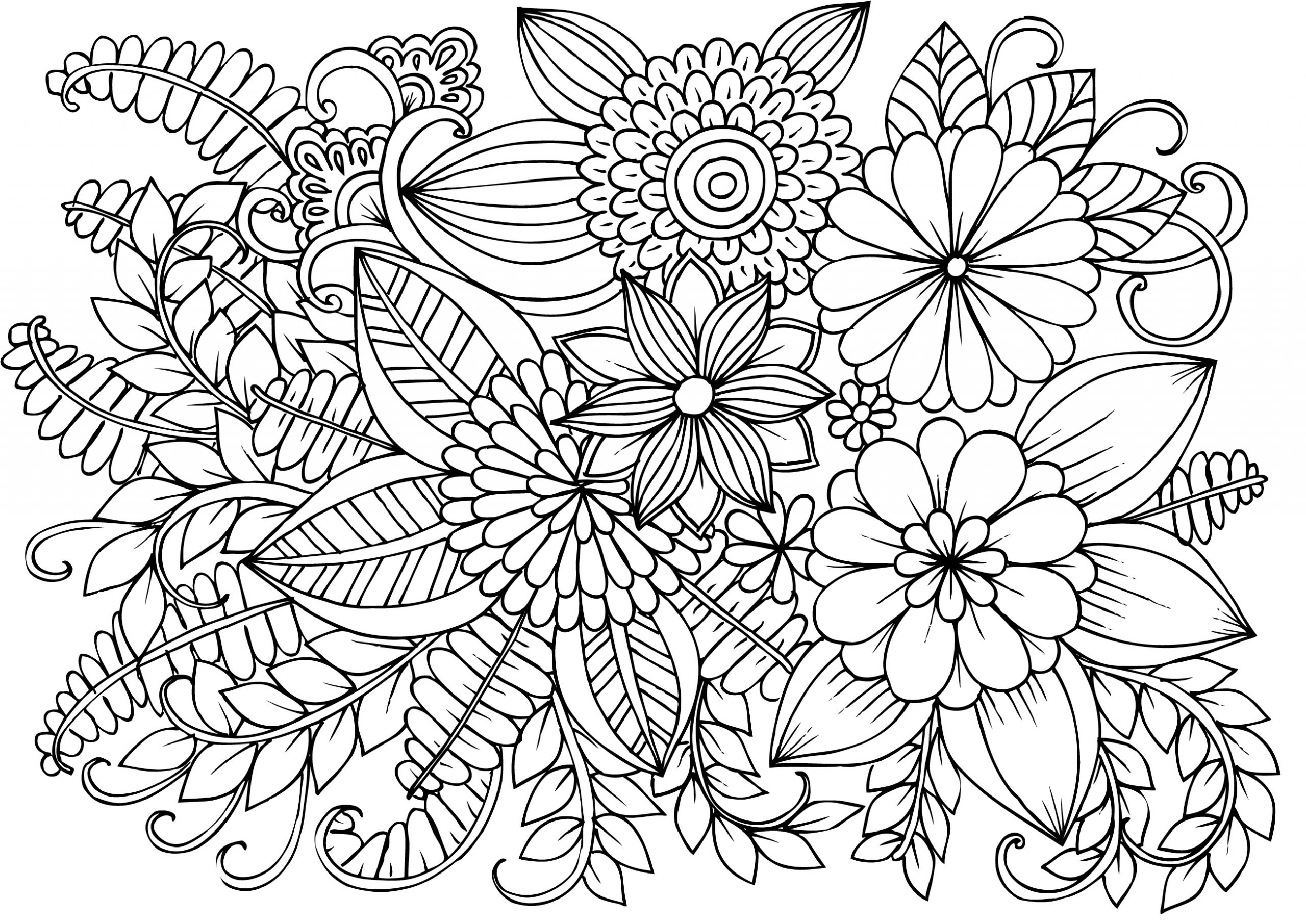 Very Detailed Flowers Coloring Pages for Adults Hard to ...