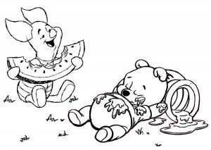 After Lunch Piglet and Winnie Pooh Coloring Pages
