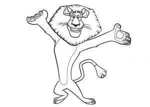 Alex Madagascar Lion Coloring Pages Funny Dance Movements by Alex