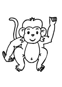 Baby Monkey Printable A4 sheet Animal Coloring Pages